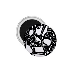 Playful abstract art - Black and white 1.75  Magnets