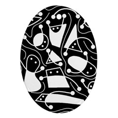 Playful abstract art - Black and white Ornament (Oval)