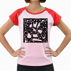 Playful abstract art - Black and white Women s Cap Sleeve T-Shirt