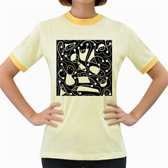 Playful abstract art - Black and white Women s Fitted Ringer T-Shirts