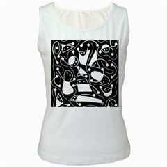 Playful abstract art - Black and white Women s White Tank Top