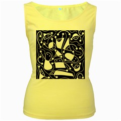 Playful abstract art - Black and white Women s Yellow Tank Top