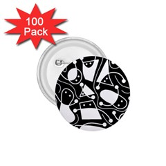 Playful abstract art - Black and white 1.75  Buttons (100 pack)