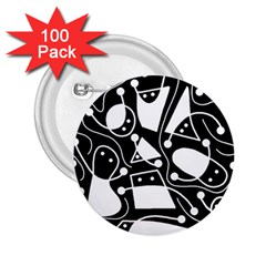 Playful abstract art - Black and white 2.25  Buttons (100 pack)