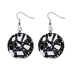 Playful abstract art - Black and white Mini Button Earrings