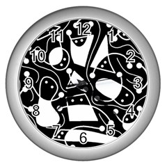 Playful abstract art - Black and white Wall Clocks (Silver)