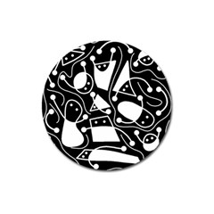 Playful abstract art - Black and white Magnet 3  (Round)
