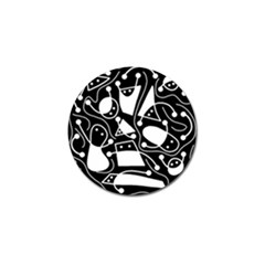 Playful abstract art - Black and white Golf Ball Marker