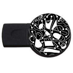 Playful abstract art - Black and white USB Flash Drive Round (1 GB)