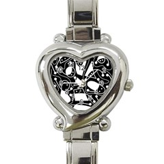 Playful abstract art - Black and white Heart Italian Charm Watch