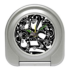 Playful abstract art - Black and white Travel Alarm Clocks