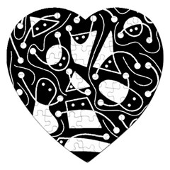 Playful abstract art - Black and white Jigsaw Puzzle (Heart)
