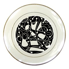 Playful abstract art - Black and white Porcelain Plates