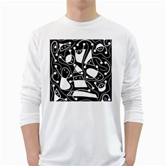 Playful abstract art - Black and white White Long Sleeve T-Shirts