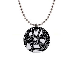Playful abstract art - Black and white Button Necklaces