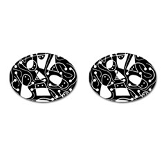 Playful abstract art - Black and white Cufflinks (Oval)