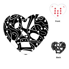 Playful abstract art - Black and white Playing Cards (Heart)
