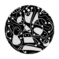 Playful abstract art - Black and white Round Ornament (Two Sides)