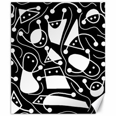 Playful abstract art - Black and white Canvas 8  x 10