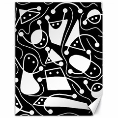 Playful abstract art - Black and white Canvas 18  x 24