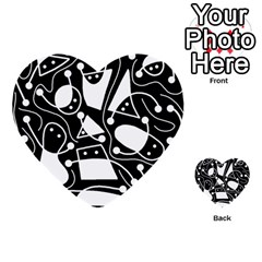 Playful abstract art - Black and white Multi-purpose Cards (Heart)
