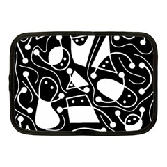 Playful abstract art - Black and white Netbook Case (Medium)