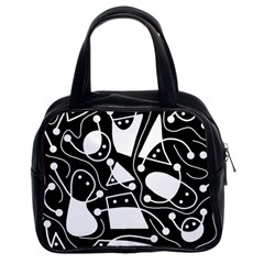Playful abstract art - Black and white Classic Handbags (2 Sides)