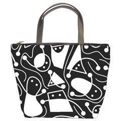 Playful abstract art - Black and white Bucket Bags
