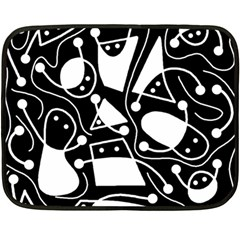 Playful abstract art - Black and white Double Sided Fleece Blanket (Mini)