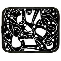 Playful abstract art - Black and white Netbook Case (XL)