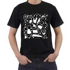 Playful abstract art - Black and white Men s T-Shirt (Black)