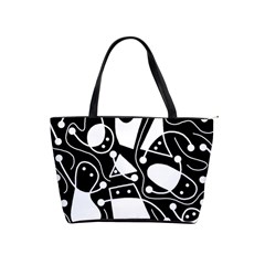 Playful abstract art - Black and white Shoulder Handbags