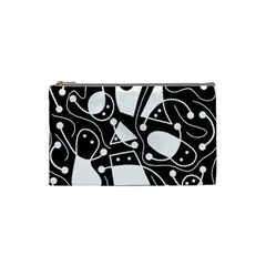 Playful abstract art - Black and white Cosmetic Bag (Small)