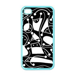 Playful abstract art - Black and white Apple iPhone 4 Case (Color)