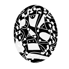Playful abstract art - Black and white Oval Filigree Ornament (2-Side)