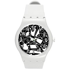 Playful abstract art - Black and white Round Plastic Sport Watch (M)