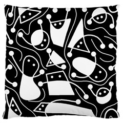 Playful abstract art - Black and white Large Cushion Case (One Side)