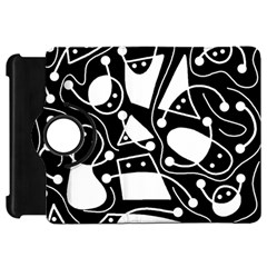 Playful abstract art - Black and white Kindle Fire HD Flip 360 Case