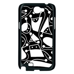 Playful abstract art - Black and white Samsung Galaxy Note 2 Case (Black)
