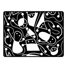 Playful abstract art - Black and white Double Sided Fleece Blanket (Small)