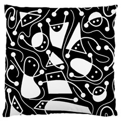 Playful abstract art - Black and white Large Flano Cushion Case (One Side)