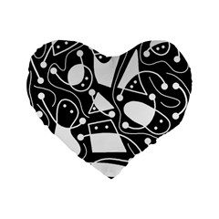 Playful abstract art - Black and white Standard 16  Premium Flano Heart Shape Cushions