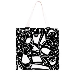 Playful abstract art - Black and white Grocery Light Tote Bag