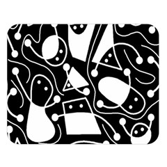 Playful abstract art - Black and white Double Sided Flano Blanket (Large)