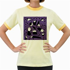 Playful abstract art - purple Women s Fitted Ringer T-Shirts