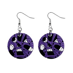 Playful abstract art - purple Mini Button Earrings