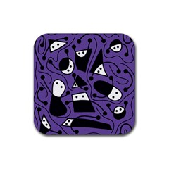 Playful abstract art - purple Rubber Square Coaster (4 pack)