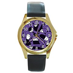Playful abstract art - purple Round Gold Metal Watch