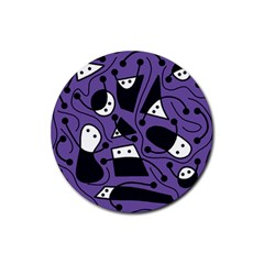 Playful abstract art - purple Rubber Coaster (Round)