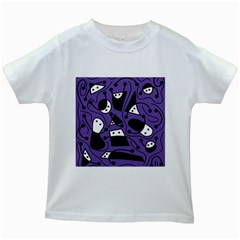 Playful abstract art - purple Kids White T-Shirts